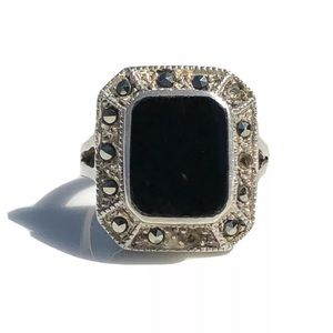 Jewelry - Onyx Sterling Silver Ring Size 7.5 Marcasite